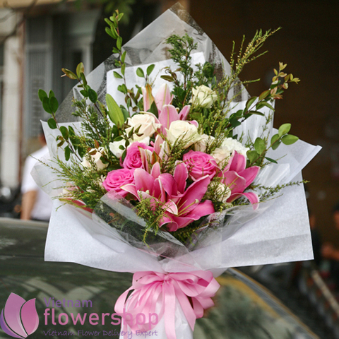Bouquet of pink flowers for lovely girl