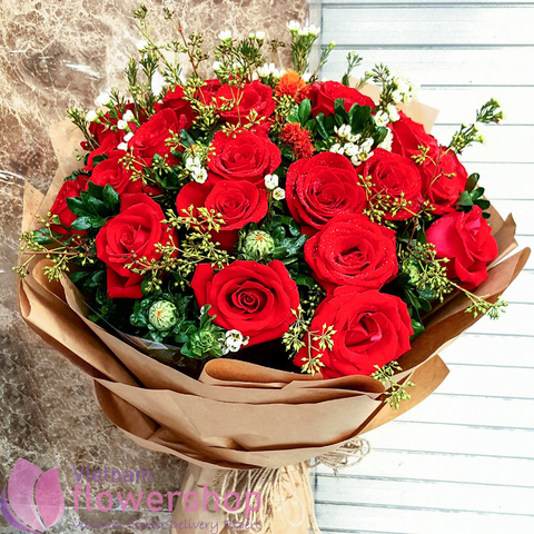 Beautiful bouquet of red roses at Vietnam Florist