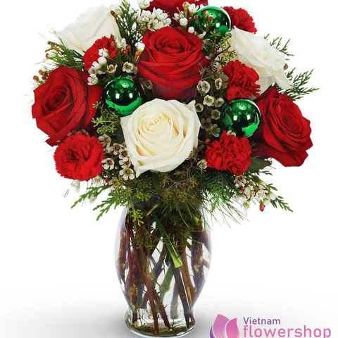 Vietnam Christmas White And Red Roses in Vases