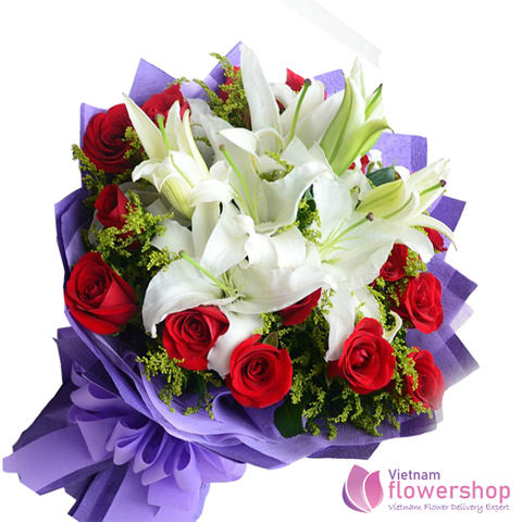 Vietnam Christmas White Lilies and red rose bouquet