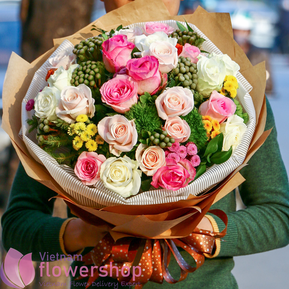 Beauty bouquet for birthday to Vietnam