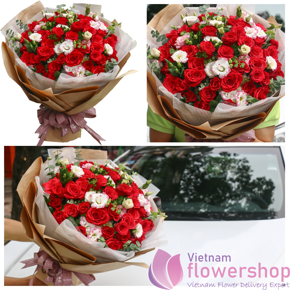 Bouquet of red roses in Vietnam