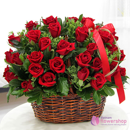 Love romantic from basket red roses free delivery