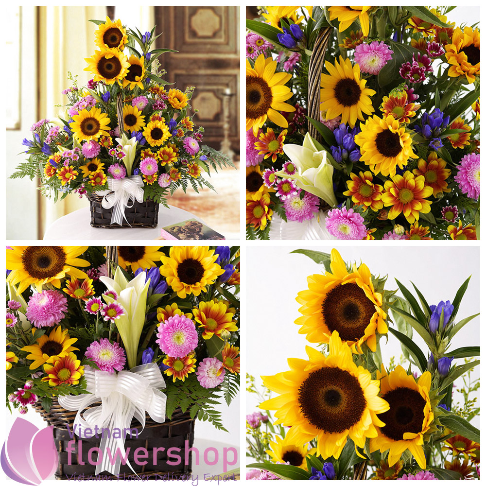 Send sunflower basket to birthday in Vietnam