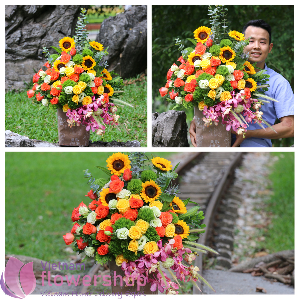 Basket flowers delivery in Vietnam free ship