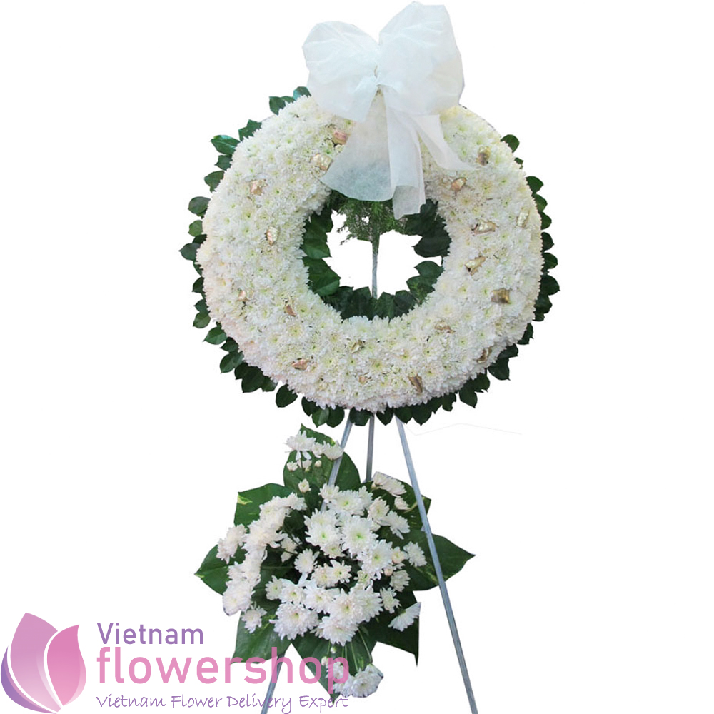 Vietnam funeral flowers in white